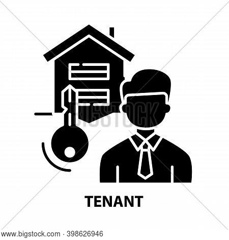 Tenant Icon, Black Vector Sign With Editable Strokes, Concept Illustration