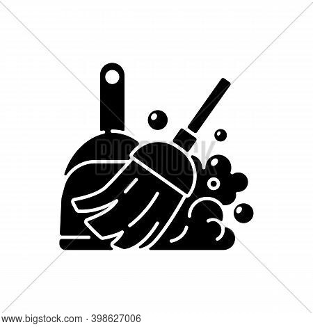 Sweeping Floor Black Glyph Icon. Household Chore, Indoor Cleanup. Housekeeping Task, Domestic Hygien