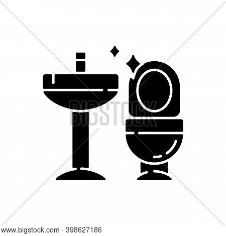 Cleaning Bathroom Black Glyph Icon. Housekeeping Silhouette Symbol On White Space. Professional Jani