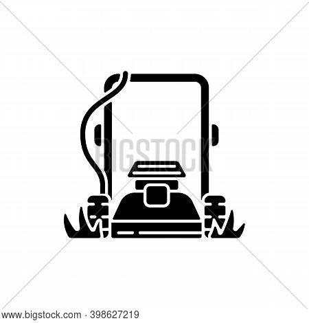 Lawn Mowing Black Glyph Icon. Suburban Housekeeping Chore Silhouette Symbol On White Space. Professi