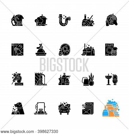 Housekeeping Black Glyph Icons Set On White Space. Keeping Home Clean And Neat. Different Housework,