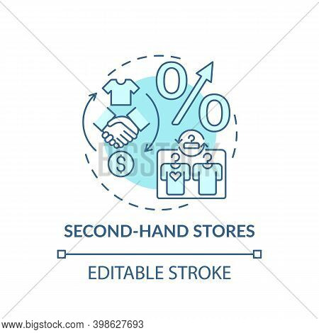Second-hand Stores Concept Icon. Thrift Stores Idea Thin Line Illustration. Saving On Clothing. Fund