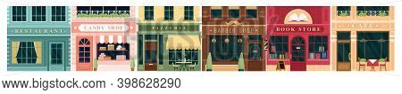 City Building Vintage Facade Vector Illustration Set. Cartoon House Exterior With Entrance Collectio