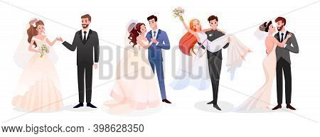Marriage Wedding Couple Vector Illustration Collection. Cartoon Happy Just Married Couples Character