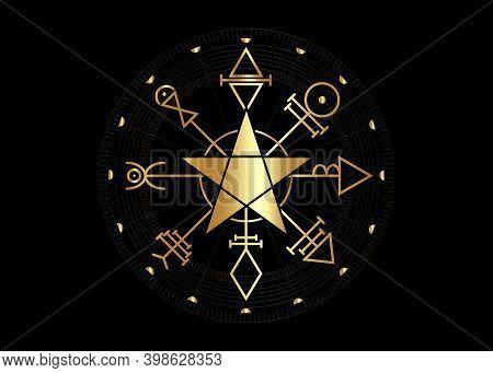 Gold First Pentacle Of Venus, Seals Magical Talisman. Sacred Geometry. Golden Vegvisir Compass Mysti