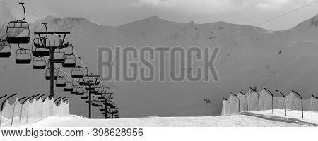 Black And White View On Snow Skiing Piste And Ropeway. Caucasus Mountains. Georgia, Region Gudauri I