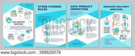 Safe Grocery Shopping Brochure Template. Curbside Pickup. Retail. Flyer, Booklet, Leaflet Print, Cov