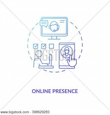 Online Presence Blue Gradient Concept Icon. Social Media Manager. Network Specialist. Remote Worker.