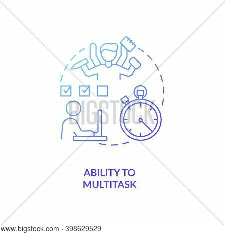 Ability To Multitask Blue Gradient Concept Icon. Office Manager. Worker Productivity. Virtual Assist
