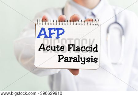 Doctor Holding A Card With Text Afp Acute Flaccid Paralysis Medical Concept