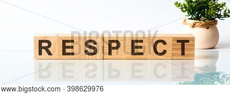 Respect Motivation Text On Wooden Blocks Business Concept White Background. Front View Concepts, Flo