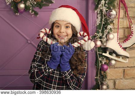 Christmas Decor. Striped Candy Cane Traditional Winter Holidays. Elegant Happy Kid In Hat And Gloves