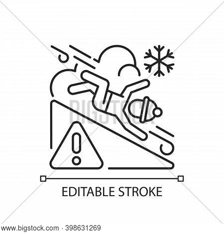 Avalanche Warning Sign Linear Icon. Dangerous Snowy Mountain Areas. Seasonal Skiing Accidents. Thin