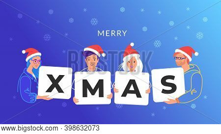 Merry Christmas Congratulation From Young Community. Concept Vector Illustration Of Young Teenagers
