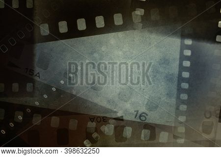 Film negative frames grunge background.
