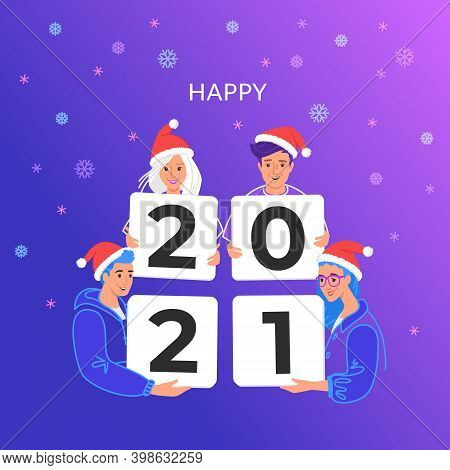 Happy New 2021 Year Congratulation From Young Community. Bright Vector Illustration Of Young Teenage