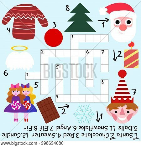 Educational Crossword For Winter Holidays Stock Vector Illustration. Funny Colorful Word Game With S