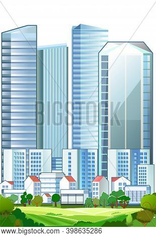 A Suburb Of A Big City. Cityscape. High-rise Buildings, Skyscrapers And High-rise Buildings. Green P