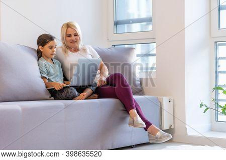 Little Girl Using Digital Laptop E-learning Concept. Little Girl Children Using Laptop Computer, Stu