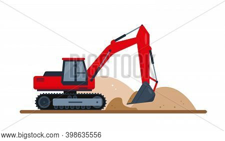 Red Excavator Digs Soil. Construction Machinery. Vector Illustration Isolated On White Background..