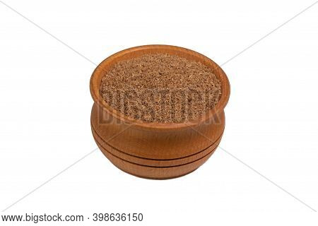 Coriander Powder In Wooden Bowl Isolated On White
