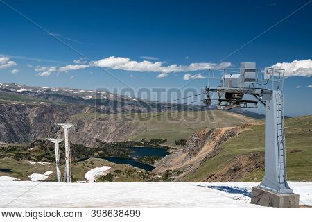 View Of The Chairlifts At The Beartooth Basin Summer Ski Are Along The Beartooth Pass In Wyoming