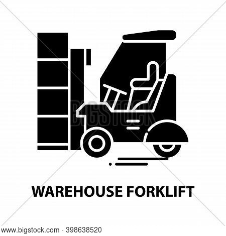 Warehouse Forklift Icon, Black Vector Sign With Editable Strokes, Concept Illustration