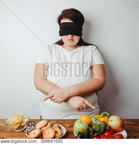 Woman With Closed Eyes Choosing Between Healthy And Unhealthy Food. Intuitive Nutrition, Mindfulness