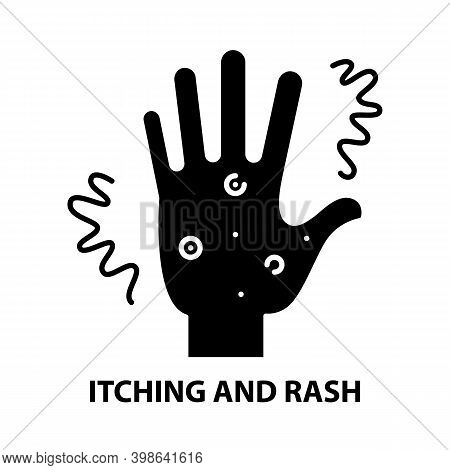 Itching And Rash Icon, Black Vector Sign With Editable Strokes, Concept Illustration