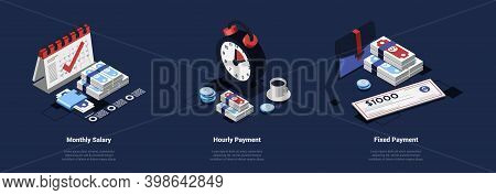 Isometric Composition With Three Separate Vector Illustrations In Cartoon 3d Style. Conceptual Art O