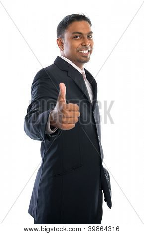 Excited thumb up 30s Indian businessman in black suit isolated on white background