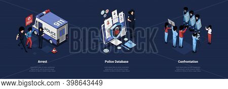 Three Police Related Concept Illustrations In Cartoon 3d Style. Separate Isometric Vector Compositio