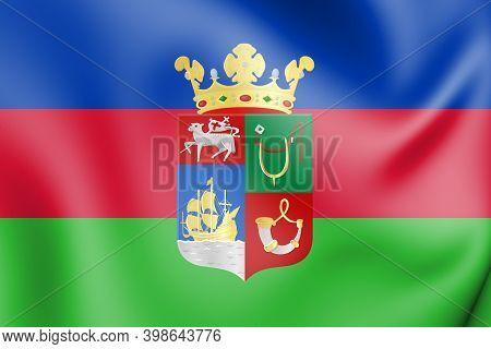 3d Flag Of Hellevoetsluis (south Holland), Netherlands. 3d Illustration.