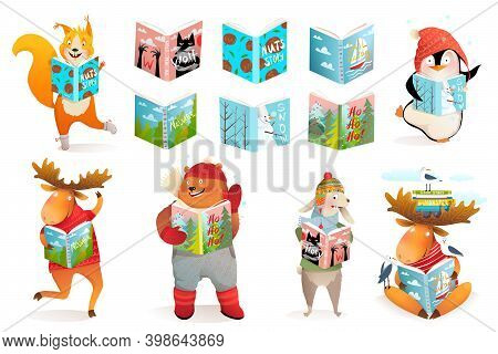 Animals Reading Books, Bear Moose Penguin And Squirrel Kids Study And School Cartoon Collection. Win