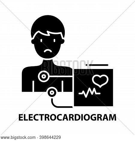 Electrocardiogram Icon, Black Vector Sign With Editable Strokes, Concept Illustration