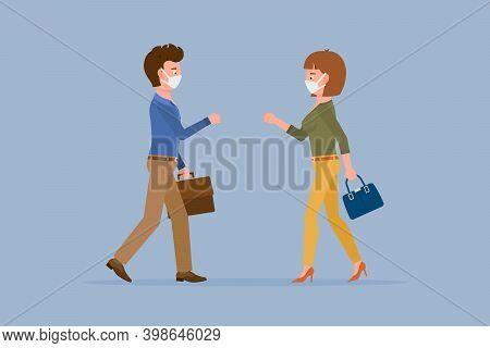 Coronavirus Prevention Cartoon Character Man And Woman Bumping Fists, Saying Hello Vector Illustrati