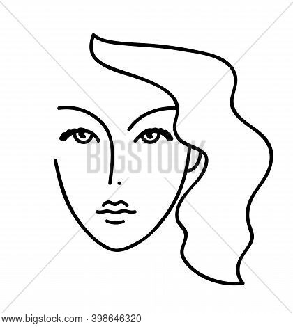 Beautyfull Girl Face. Attractive Young Woman Portrait Female Beauty Concept. Continuous One Line Dra