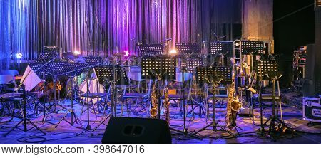 Online Music Concert Or Event. Empty Stage. Music Background. Live Music. Jazz Online. Musical Instr