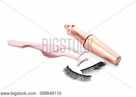 Magnetic Eyelashes, Eyeliner And Tweezers On White Background