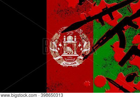 Afghanistan Flag And Various Weapons In Red Blood. Concept For Terror Attack Or Military Operations