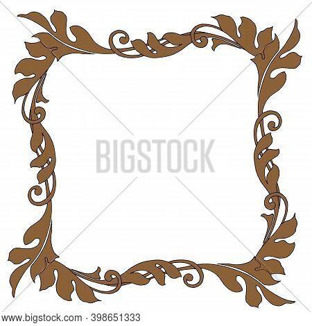 Frame, Damask Pattern With Floristry, Isolate On A White Background, Greeting Card