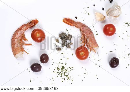 The Ingredients To Prepare The Prawns On A Stone Surface