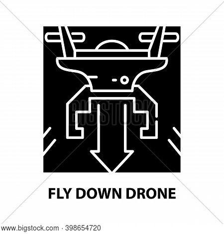 Fly Down Drone Icon, Black Vector Sign With Editable Strokes, Concept Illustration