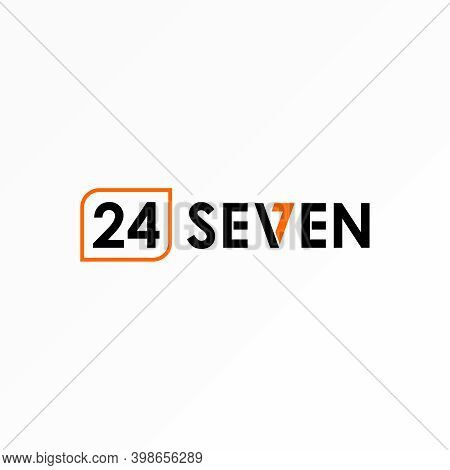 Number 24 Logo. Seven Writing Design. Font And Number Concept. Can Be Used As Symbol Associated With