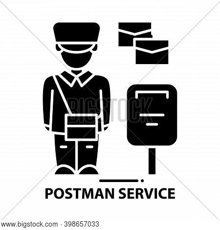 Postman Service Icon, Black Vector Sign With Editable Strokes, Concept Illustration