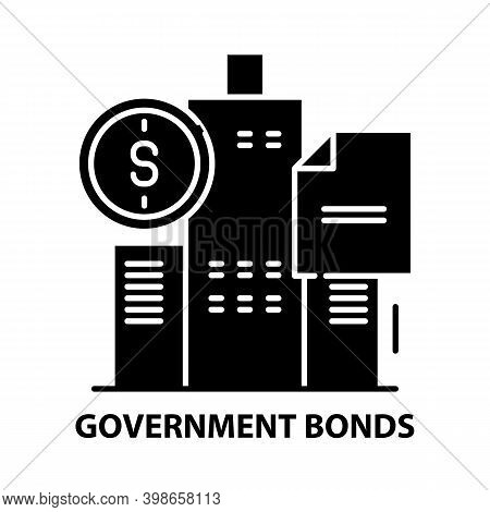Government Bonds Icon, Black Vector Sign With Editable Strokes, Concept Illustration