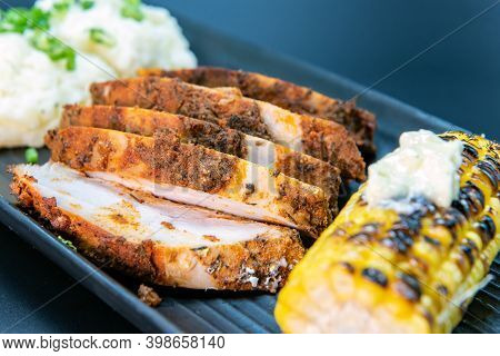 Delicious Creole Crusted Turkey Breast With Mashed Potatoes And Corn On The Cobb Makes The Mouth Wat