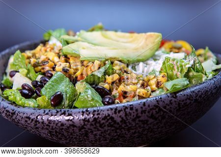 Delicious Hearty Bowl Of New Mexico Salad With Black Beans And Avocado Makes The Mouth Water And The