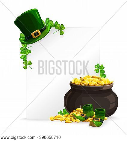 St. Patricks Day White Sheet Banner, Pot Of Golden Coins, Leprechaun Hat, Shoes And Green Shamrock C