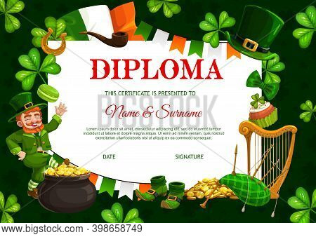 Kids Diploma Template, Patricks Day Vector Leprechaun, Pot With Gold Coins And Neck Tie, Celtic Part